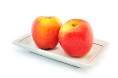 Apple On Plate Royalty Free Stock Photography