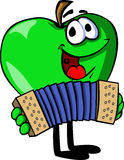 Apple playing accordion Royalty Free Stock Images
