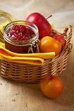 Apple and plum jam. Homemade apple and plum jam Royalty Free Stock Images