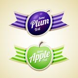 Apple and plum labels Royalty Free Stock Photos