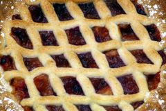 Apple and plum pie Stock Image