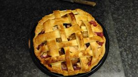 Apple and plum pie Stock Photos