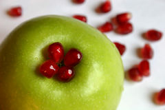 Apple, pomegranate. Closeup royalty free stock images