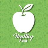 Apple portent des fruits affiche avec le modèle sain de nourriture Images libres de droits
