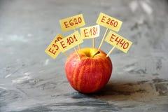 Apple portent des fruits avec les additifs naturels d'E photo stock