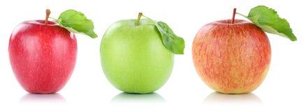 Apple portent des fruits des fruits de pommes en vert rouge de rangée d'isolement sur le blanc Photographie stock