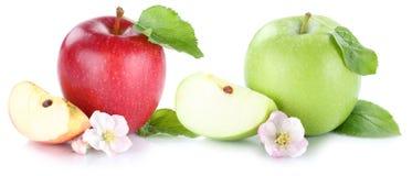Apple portent des fruits des fruits frais de pommes d'isolement sur le blanc Images libres de droits