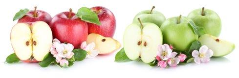 Apple portent des fruits la tranche découpée en tranches par vert rouge o d'isolement par moitié de fruits de pommes Photographie stock libre de droits