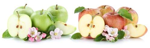 Apple portent des fruits moitié de tranche découpée en tranches par fruits de pommes d'isolement sur le blanc Image libre de droits