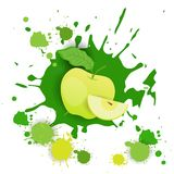 Apple portent des fruits nourriture naturelle de Logo Watercolor Splash Design Fresh Photographie stock