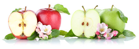 Apple portent des fruits vert rouge de fruits de pommes découpé en tranches d'isolement sur le blanc Photographie stock