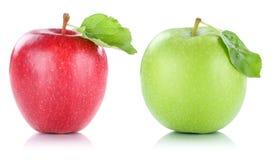 Apple portent des fruits vert rouge de fruits de pommes d'isolement sur le blanc Photos stock