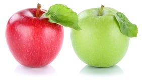 Apple portent des fruits vert rouge de fruits frais de pommes d'isolement sur le blanc Images stock