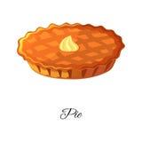 Apple, potiron, icône de tarte de baies avec de la crème D'isolement sur le fond blanc illustration stock