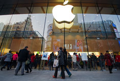 Apple products flagship store. In China, Shanghai Nanjing road shopping street, there is an American apple products  flagship store.Many customers patronize here Stock Image