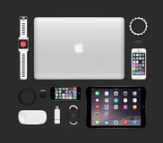 Apple products tech mockup consisting macbook pro, ipad air 2, i Stock Images