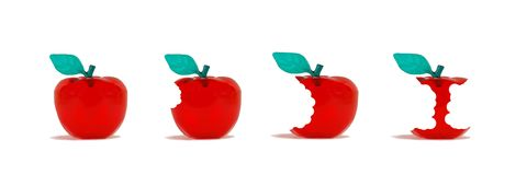 Apple Progression. Progression of whole red apple with bites leading to mostly eaten apple on white background Royalty Free Stock Photography