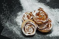 Apple puff rolls. With apricot jam Stock Photo