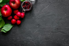 Apple, pulm και το βακκίνιο για το θερινό ποτό στη μαύρη άποψη επιτραπέζιων κορυφών copyspace Στοκ εικόνα με δικαίωμα ελεύθερης χρήσης