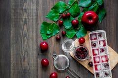 Apple, pulm, κεράσι, το βακκίνιο, πάγος για το ποτό θερινών φρούτων στην ξύλινη τοπ άποψη επιτραπέζιου υποβάθρου copyspace Στοκ Εικόνα