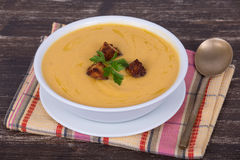 Apple pumpkin cream soup Royalty Free Stock Photo