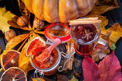 tea with jam from pumpkins and abrok, Autumn background, royalty free stock photography
