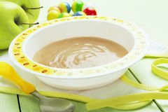 Apple puree, baby food Stock Image