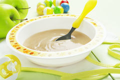Apple puree, baby food Stock Photography