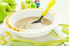 Apple puree, comida para bebê Fotografia de Stock