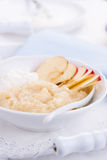Apple puree dessert with cream and fresh apples Stock Images
