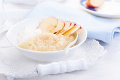 Apple puree dessert with cream and fresh apples Royalty Free Stock Photo