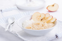 Apple puree dessert with cream and fresh apples Royalty Free Stock Image