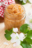Apple puree in glass jar Stock Images