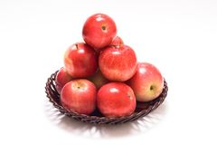 Apple pyramid. On the plate stock images
