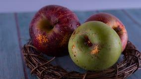 Apple raccoglie, Apple ha risparmiato Mele rosse nel nido fotografia stock libera da diritti