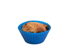 Apple raisin muffin. A home baked apple raisin muffin on a white background Stock Image