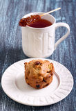 Apple, raisin  and walnut muffin Stock Images