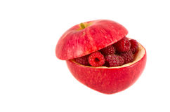 Apple and raspberry isolated on white Royalty Free Stock Images