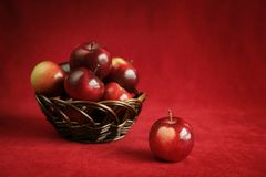 Apple on red Stock Photo