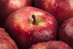 Apple red closeup drops Royalty Free Stock Images