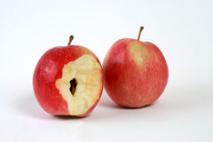 Apple, Red, Food,. A red apple on a white background, the beginning of food royalty free stock photography