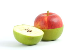 Apple red and green. Clean, fresh and appetizing Stock Photography