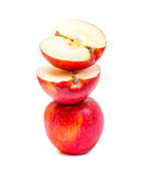 Apple red overlap isolated on white background Royalty Free Stock Photography