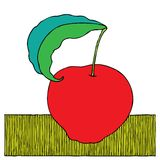 Apple red woodcut Royalty Free Stock Image