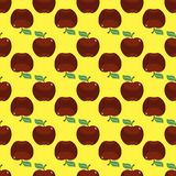 Apple red yellow seamless pattern background. Vector illustration Stock Photo