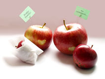 Apple relationship. Happy family. Happy apples family on white background Royalty Free Stock Photo