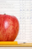 Apple with report card Royalty Free Stock Images