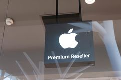 Apple reseller logo close up shot. On the city mall Royalty Free Stock Photos