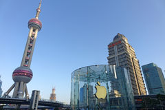 Apple retail store in Shanghai lujiazui. Apple retail store in Shanghai, located in Shanghai Lujiazui business and financial center ,Pudong New Area royalty free stock image