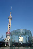 Apple retail store and oriental pearl tv tower  Stock Photography